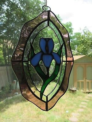 Bearded Iris Flower Stained Glass Art Suncatcher Beautiful!
