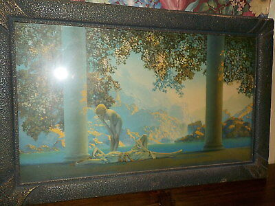 "1920's Maxfield Parrish ""daybreak"" In Art Deco Frame 10"" X 18"" The House Of Art"