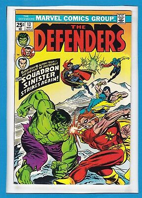 """The Defenders #13_May 1974_Nm Minus_""""squadron Sinister""""_Bronze Age Marvel!"""