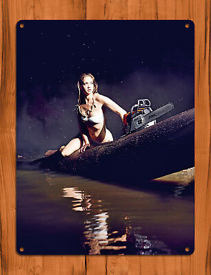 "TIN SIGN ""Stihl Night"" Calendar Girl Chainsaw Mancave Wall Decor"