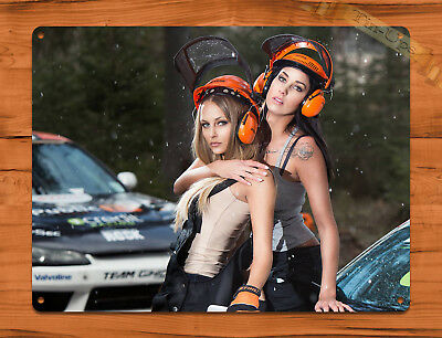 "TIN SIGN ""Stihl Helmets"" Calendar Girl Chainsaw Race Car Garage Wall Decor"