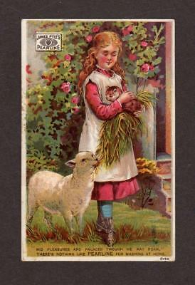 James Pyle's Pearline Soap Victorian Advertising Trade Card Girl, Kitten & Lamb