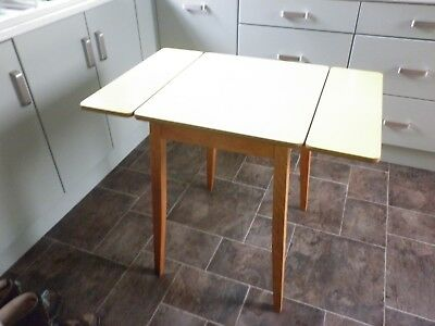 Vintage 1960s Compact Wooden Drop Leaf Kitchen Table Yellow Formica Top