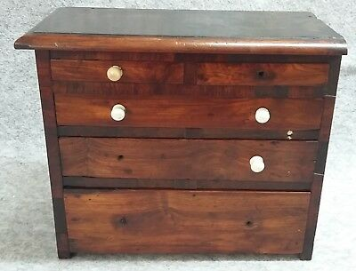 Georgian Wooden Treen Chest Miniature Aprentice Dolls False Secret Draws Antique
