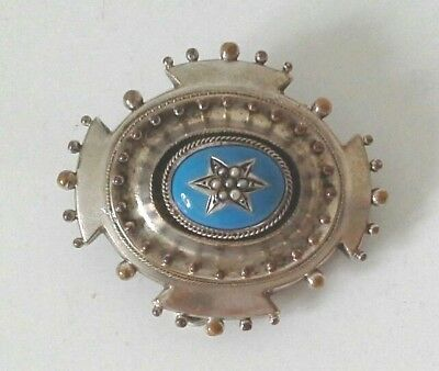 Antique Large Victorian Silver Plated Turquoise Seed Pearl Picture Brooch Pin