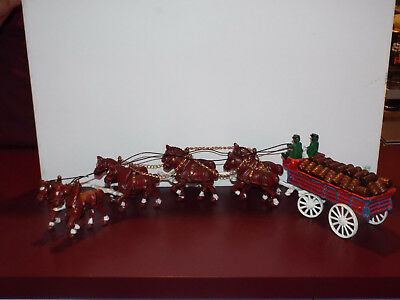 Collectible Vintage Cast Iron Clydesdale Beer Horse Drawn Wagon