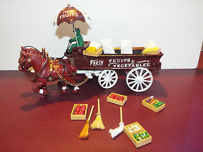 Collectible Vintage Cast Iron Fruit and Vegetable Horse Drawn Wagon