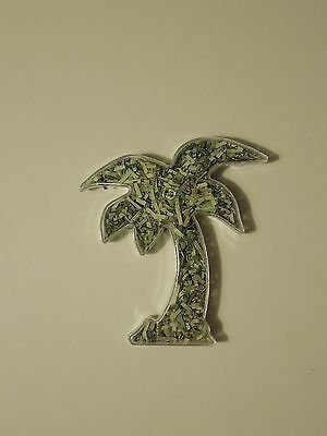 "MONEY TREE!! GAG GIFT! 4"" Palm Tree Filled With Genuine Shredded US Currency"