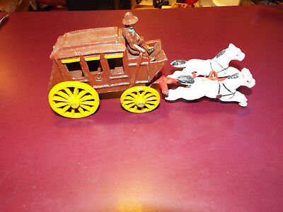 Collectible Vintage Cast Iron Drawn Stage Coach Carriage Horse Drawn Wagon