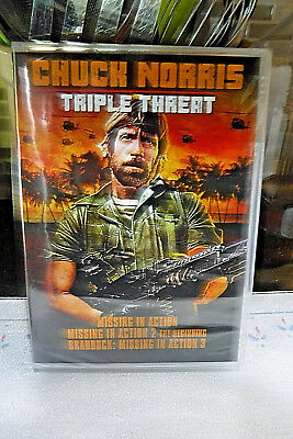 Brand New/sealed Dvd! Chuck Norris Triple Threat! Missing In Action 1, 2 & 3!