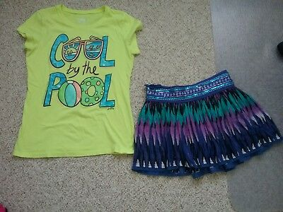 Justice Shirt And  Justice  Girls Skort Size 18 Euc