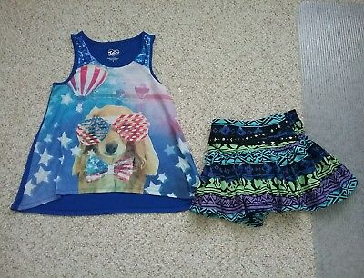 Justice Shirt And  Justice  Girls Skort Size 8 Euc