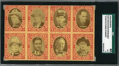 """1929 Exhibits """"Star Picture Stamps"""" Postcard W.C. Fields, Lon Chaney SGC 40 VG"""