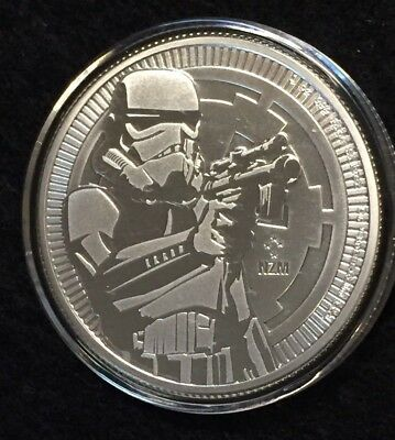 2018 Star Wars Stormtrooper 1 oz SILVER Coin New Zealand Niue - in capsule