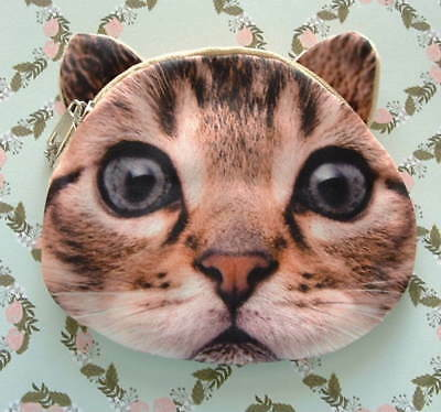 New Handcrafted Brown Tabby Cat Kitten Lover Cosmetic Change Coin Purse