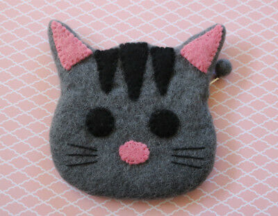 New Handcrafted Nepal Felt Gray Cat Kitten Face Zipper Change Purse Ladies Cats