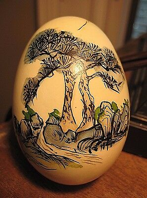 Vintage Asian Hand Painted Genuine Egg Shell Signed EASTER  Landscape Oriental
