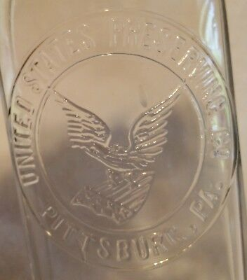 "Antique food bottle embossed ""UNITED STATES PRESERVING COMPAMY"" PITTSBURGH, PA"