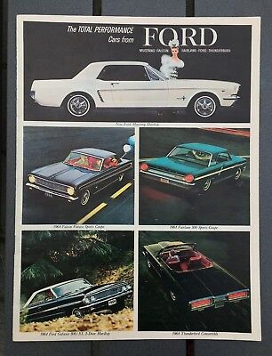 Vintage Ford auto car sales dealer booklet 1964 Mustang Falcon Thunderbird MINTY