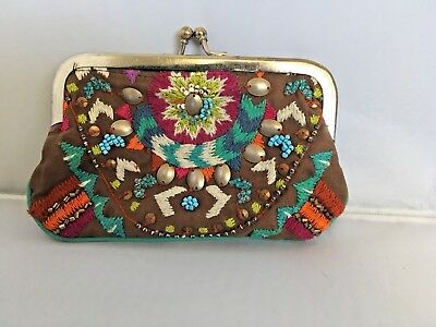 Vintage Embroidered Southwest Coin Purse Seed Bead Cotton Brown Turquoise Boho