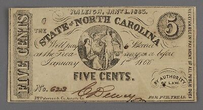 1863 North Carolina 5 Cent Note - Civil War Era Fractional Currency