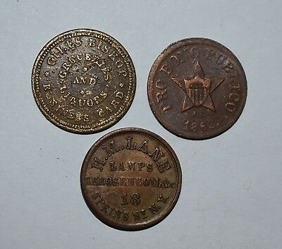 15. Lot Of 3 Civil War Era Tokens Business Card Mich. Others New York