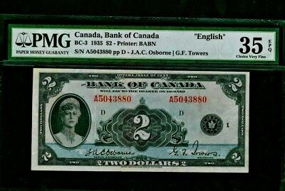 1935 Bank of Canada $2 Osborne-Towers English BC-3 EPQ!