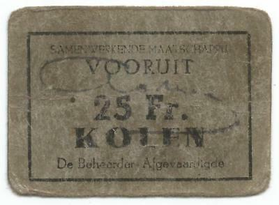 """After 1880 GHENT BELGIUM Good For """"25 FRANKS of COAL"""" Co-operative Society TOKEN"""
