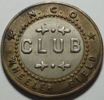 WHEELER ARMY AIR FIELD Hawaii, Good For 5¢ NCO CLUB Token, REMEMBER PEARL HARBOR
