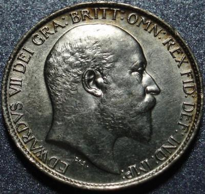 1902 GREAT BRITAIN Sterling Silver SIX PENCE 1st of ONLY 9 Years KING EDWARD VII