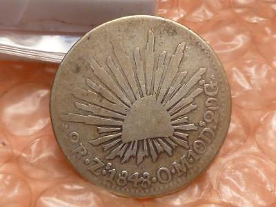 Mexico 2 Reales 1848 Zs OM Silver Coin #1