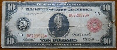1913 Federal Reserve Note United States Of America $10 Bill Large Note (19)