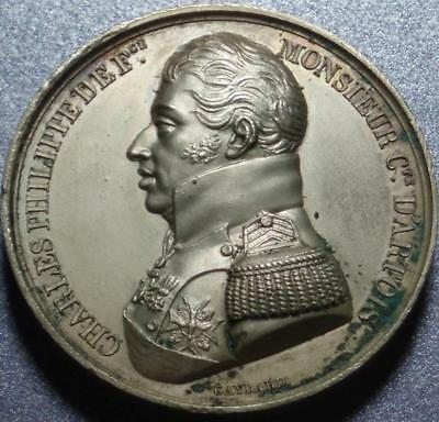 1814 FRANCE Extremely HIGH RELIEF Charles Philippe 1st BOURBON RESTORATION Medal
