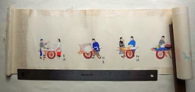 CHINESE Scroll Watercolor Drawing Hand-painted Art Market Scenes Food Sellers