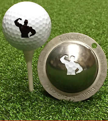 1 only TIN CUP GOLF BALL MARKER - BIG HITTER - Yours For Life & EASY TO DO