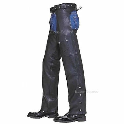 Black Leather Mens Motorcycle Zippered Chaps Leg Warmer- Closeout Sale  - K2L