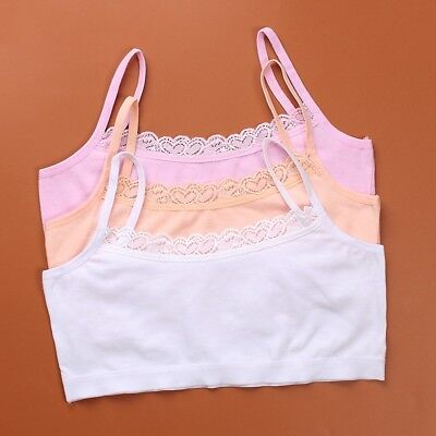 Sweat-absorbent Breathable Cotton Bra Girls Strap Elastic Bra with Lace Edge