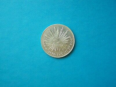 Mexico Coins 1877 Year 8 Reales Nice Silver Coin.