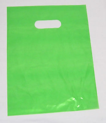 "100   12"" x 15"" LIME-GREEN GLOSSY Low-Density Plastic Merchandise or Party Bags"