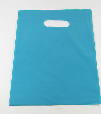"""50 15"""" x 18"""" x 4"""" BLUE Teal GLOSSY Low-Density Plastic Merchandise Party Bags"""
