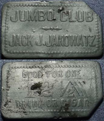 JUMBO, NEVADA Good For ONE 12½¢ DRINK or CIGAR Jumbo Club JACK J. JAKOWATZ Token