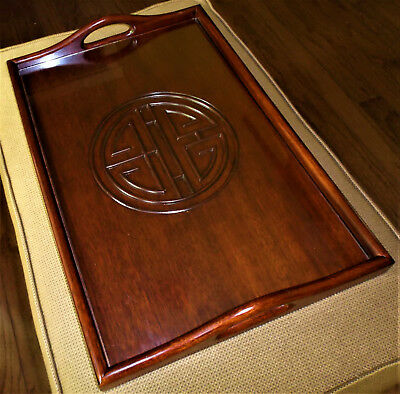 """Vintage Solid Carved Mahogany Chinese Wooden Tray Under Glass 21"""" x 14"""""""