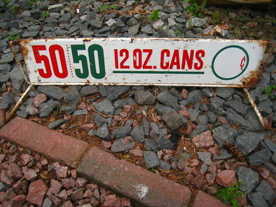 Rare Vintage Original Metal 50 / 50  Soda 12 OZ Cans Door Push Sign