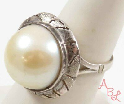 Sterling Silver Vintage 925 Navajo Solitaire Pearl Ring Sz 7.5 (5.1g) - 728371