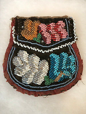 Antique Iroquois Native American Indian Beaded Purse Bag Pouch