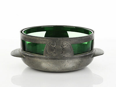 Archibald Knox LIBERTY Tudric Pewter Rosebowl with Whitefriars green glass liner