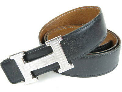 Authentic HERMES H Logo Belt Silver-tone Black Leather M 90 Mens r1044