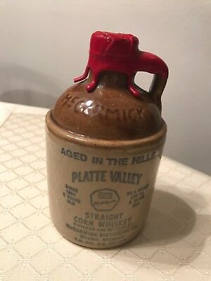 Vintage McCormick Platte Valley Corn Whiskey Jug 219-1982 Liquor Bottle 11-D16