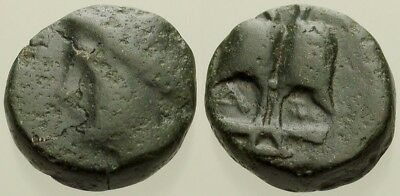 061. Greek Bronze Coin. THRACE. AE-15. Apollo / Anchor. F/VF