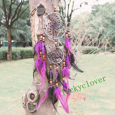Purple 2 Circle Feathers Dream Catcher Wall Hanging Decor Bead Ornament Handmade